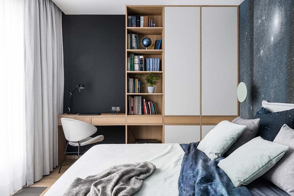 Sypialnia z miejscem do pracy. Projekt Studio Projekt