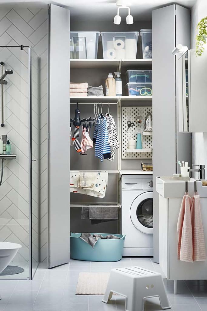 Szafa gospodarcza w domowej łazience, aranżacja IKEA