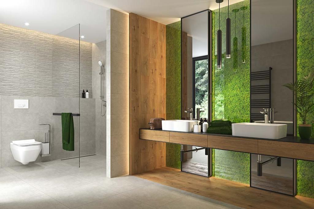 Toaleta połączona z łazienką, na ścianie przy umywalce szklane dekoracje Fresh Moss marki Cersanit