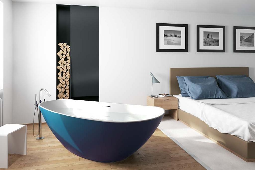 Wolnostojąca wanna w sypialni, model Granada marki Riho
