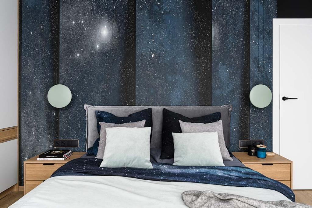 Zagłówek w sypialni, grafika marki London Art. Projekt Studio Projekt