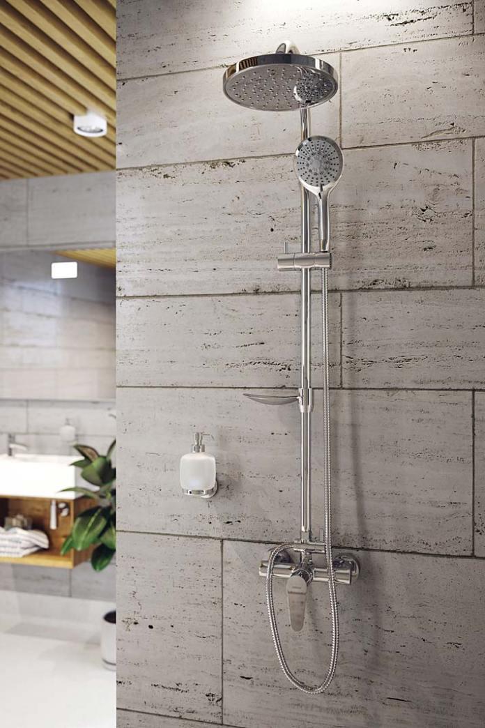 Zestaw natryskowy Ferro Algeo ze zintegrowaną półką pod prysznic
