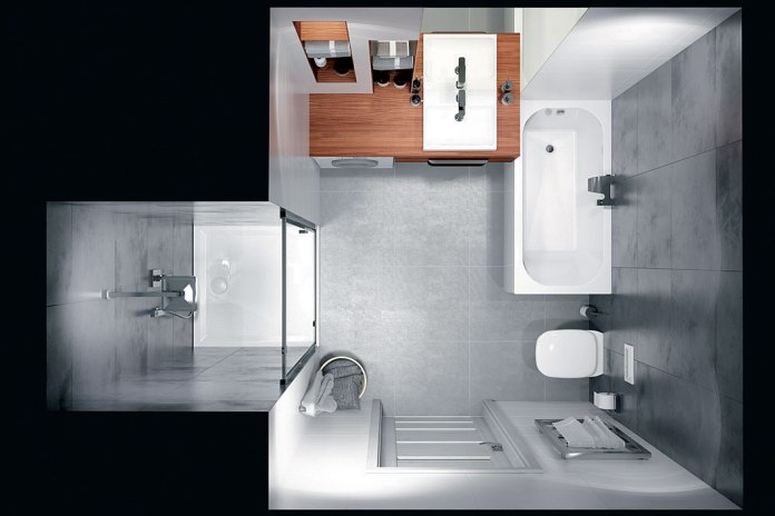 Aranżacja łazienki z drzwiami prysznicowymi Sanplast