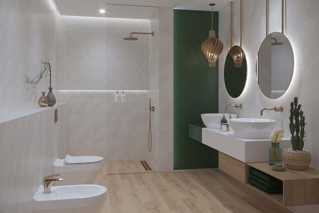 Aranżacja łazienki z kolekcją płtek ceramicznych Markuria Cersanit