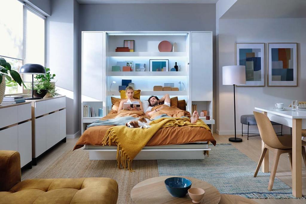 Bed Concept marki Lenart, półkotapczan z peumatycznym mechanizmem otwierania