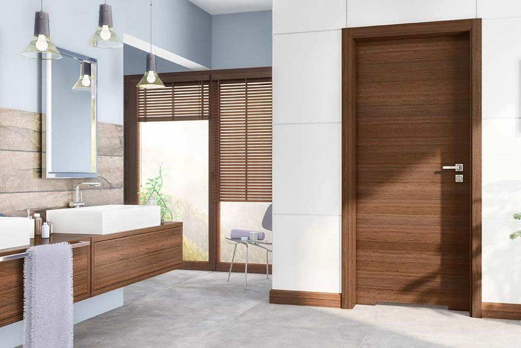 Aranżacja łazienki z drzwiami Trendy z podcięciem, Pol-Skone