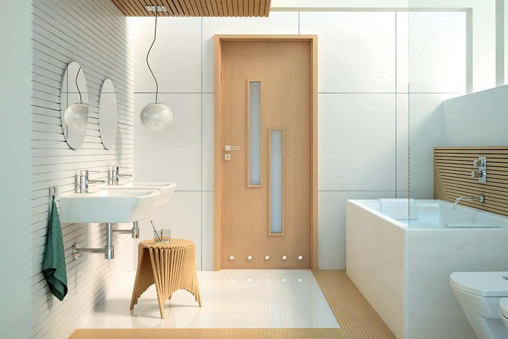 Aranżacja łazienki z drzwiami Strada od Invado