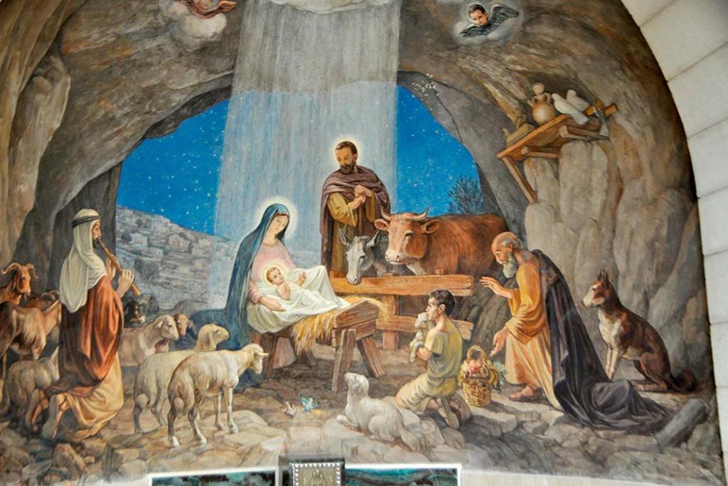 Fresk, który można podziwiać wkatolickiej kaplicy w Betlejem