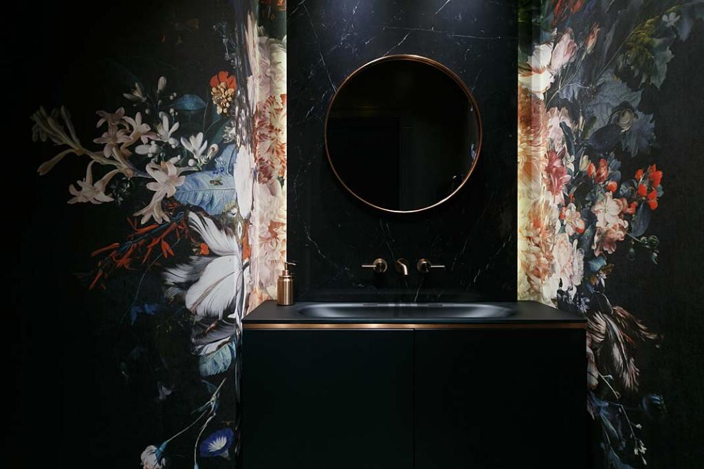 Gościnna łazienka. Projekt MIKOŁAJSKAstudio