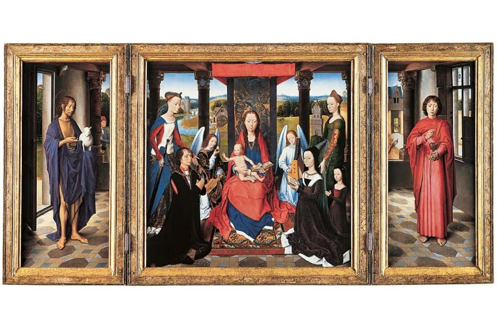 Hans Memling, Matka Boska z dzieciątkiem, aniołami, świętymi i donatorami