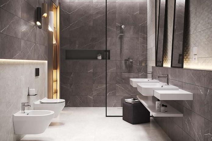 Kabina prysznicowa na szerokość ściany, aranżacja Cersanit