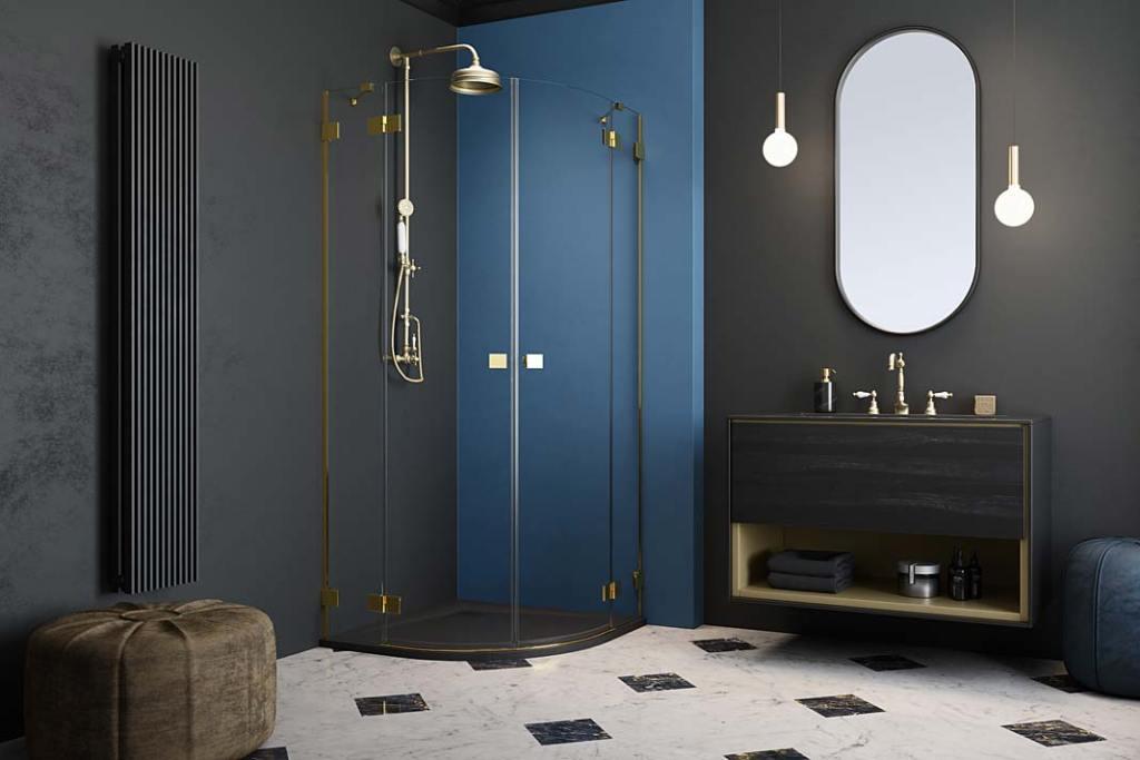 Kabiny prysznicowe na miarę oferuje marka Radaway. Na zdjęciu kabina Essenza Pro Gold
