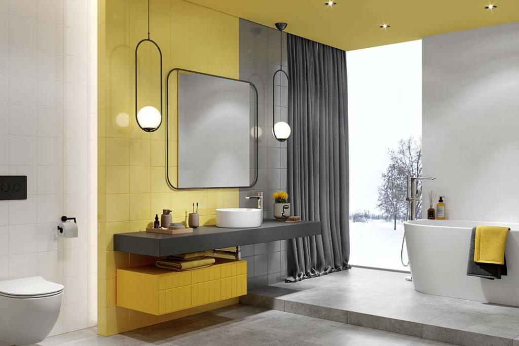 Kolory roku 2021 w łazience, aranżacja z płytkami Opoczno Monoblock Grey i Yellow