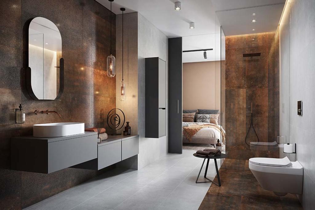 Łazienka przy sypialni. Aranżacja marki Cersanit
