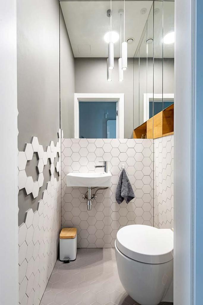 Mała toaleta dla gości. Projekt WZ Studio