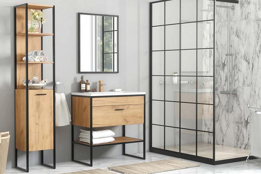 Meble łazienkowe w stylu loftowym, kolekcja Brooklin z oferty Leroy Merlin
