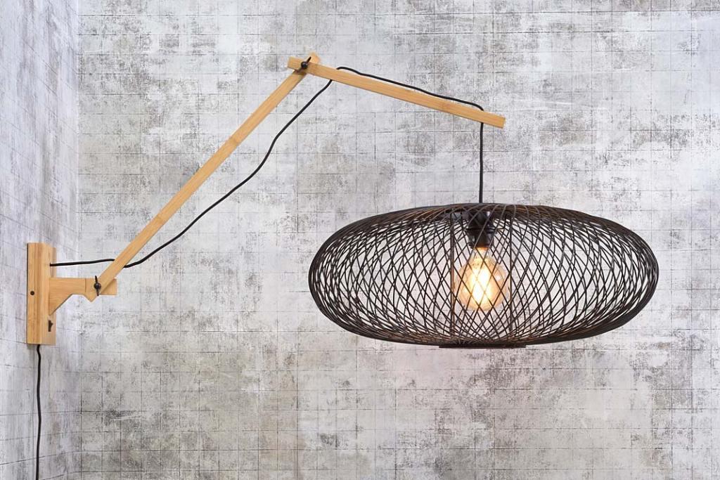 Nowoczesne oświetlenie, bambusowa lampa kinkiet Cango od Good&Mojo