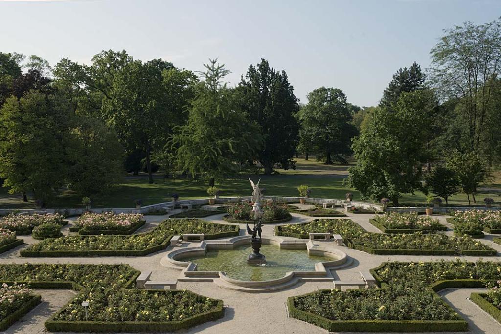Ogród Różany pałacu w Wilanowie z góry