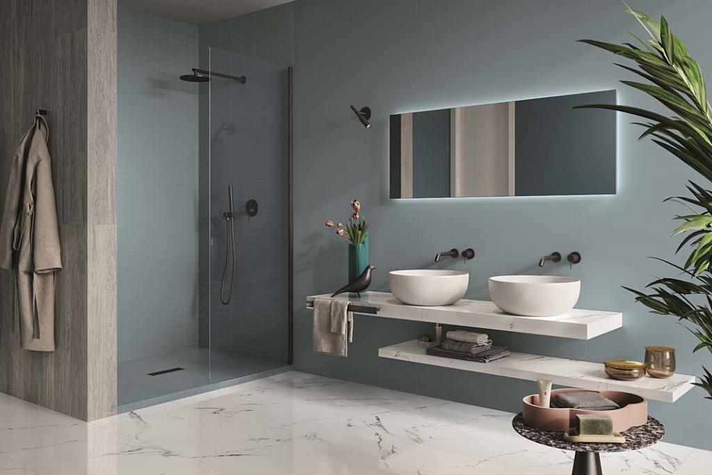 Płytki łazienkowe ze wzorem kamienia, kolekcja Marmoker marki Casalgrande Padana