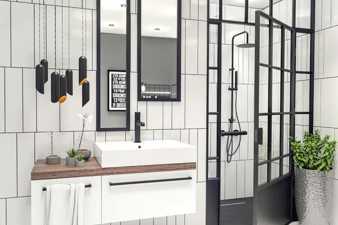 Prysznic we wnęce, czarne szprosy, aranżacja Laveo