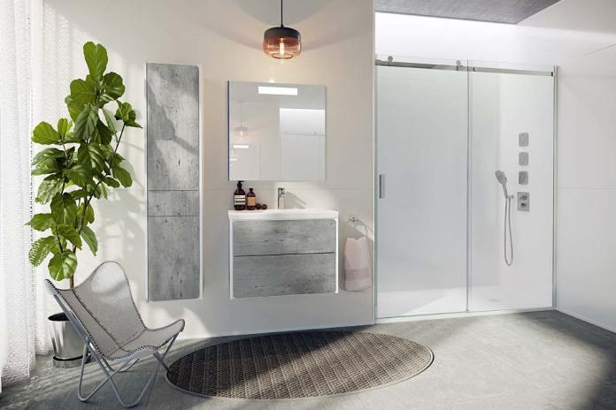 Prysznic we wnęce, kompozytowy brodzik Ignis marki Roca