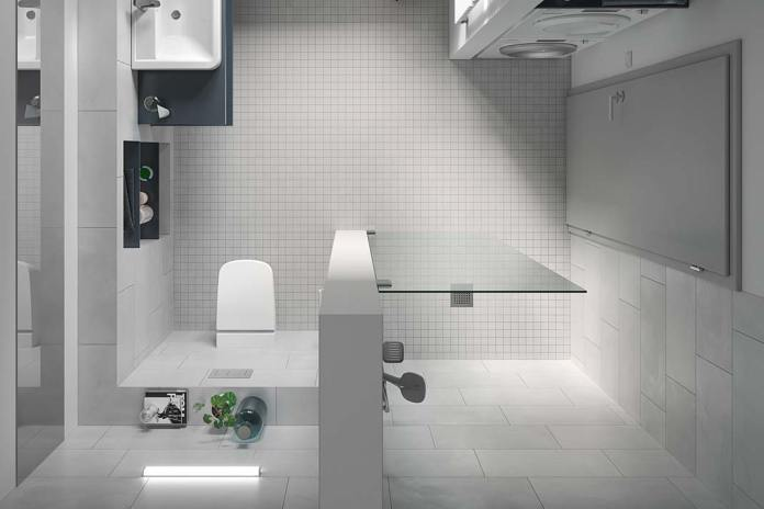 Prysznic we wnęce, ścianki konstrukcyjne TECE