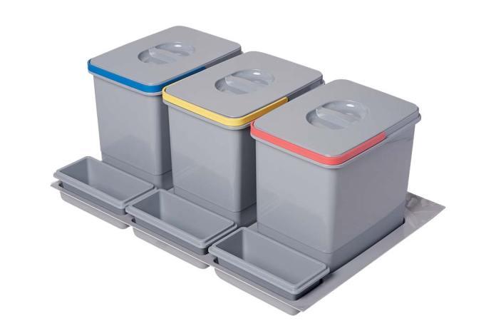 Segregator na śmieci firmy AMIX, do montażu w szufladzie