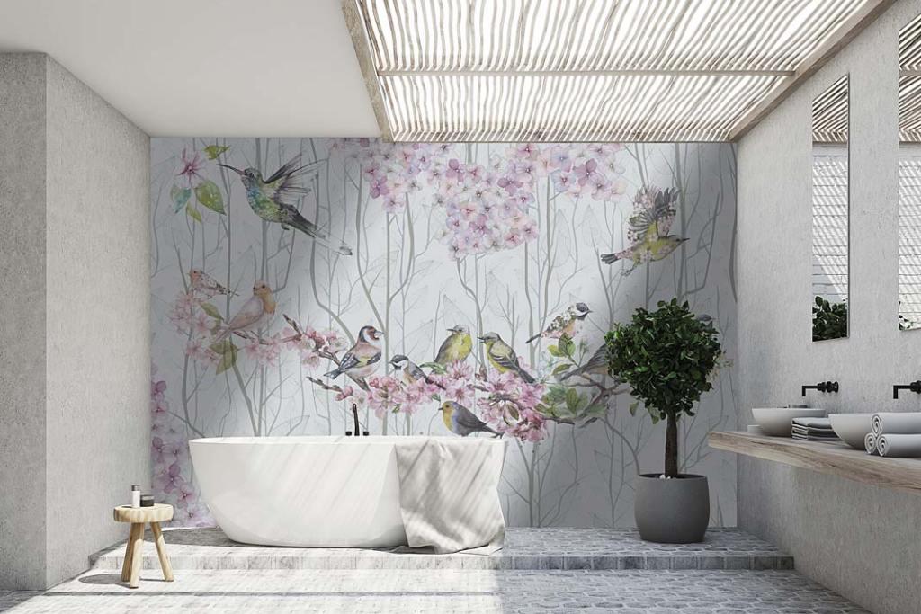 Letnie inspiracje do łazienki. Tapeta Flying Away marki Instabilelab