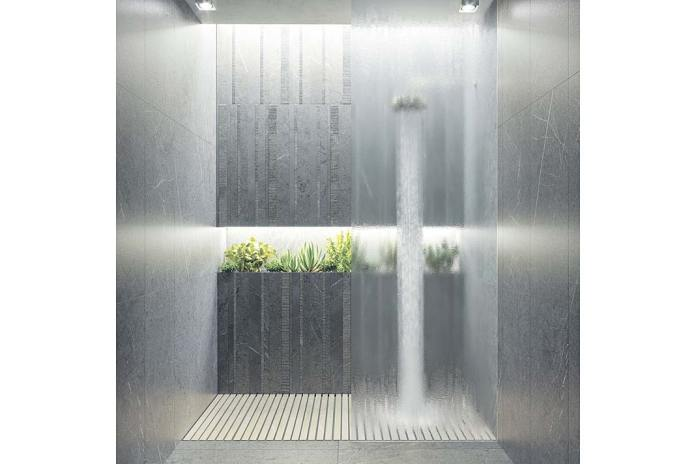 Wnęka prysznicowa wykończona płytkami Carven firmy Gayafores