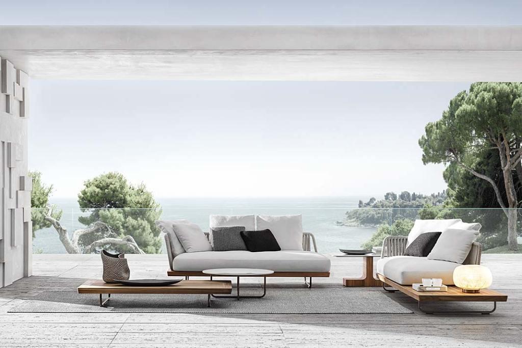Wypoczynkowe meble do ogrodu, kolekcja Sunray od MINOTTI