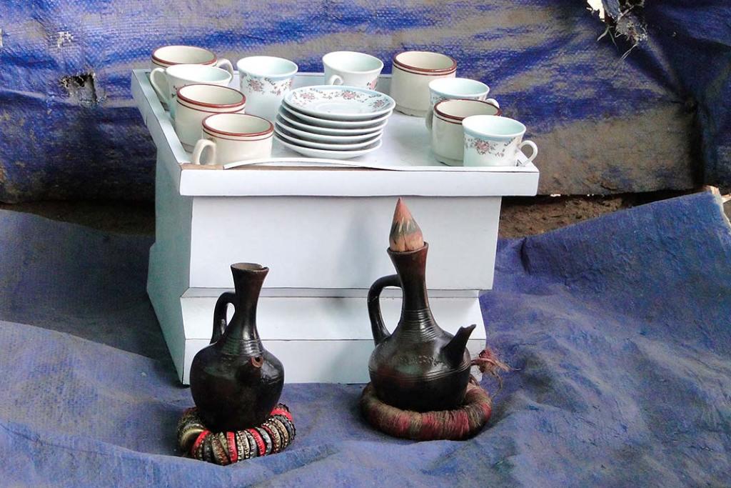 Kawa z Etiopii, tradycyjny zestaw doparzenia kawy etiopskiej