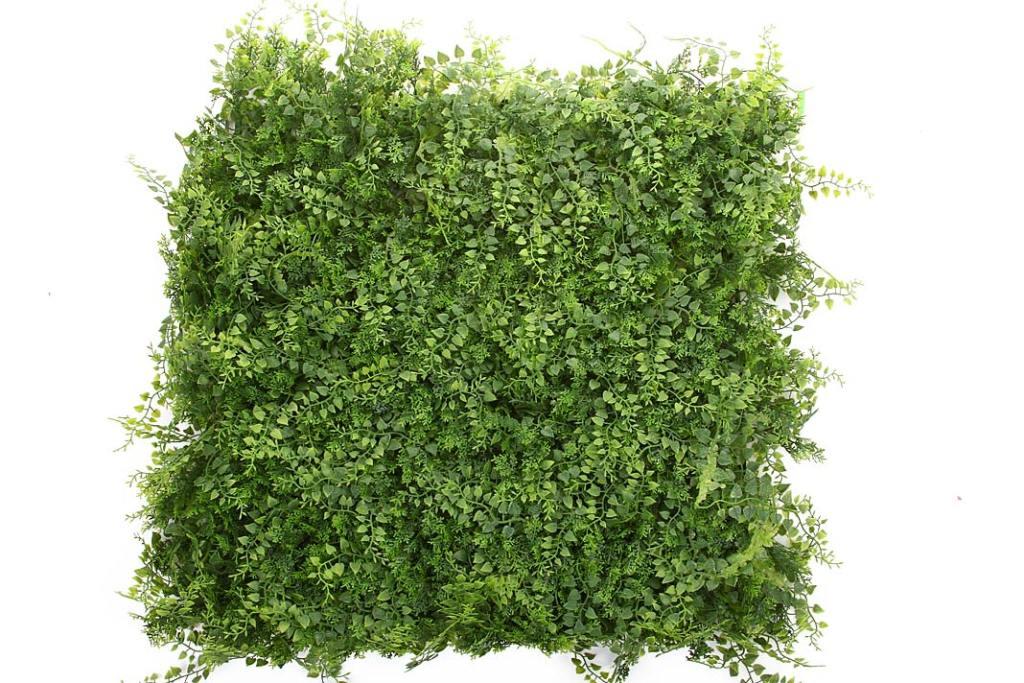 Zielona ściana w kąciku home office, mata Jałowiec Paproć od Hydroponiki