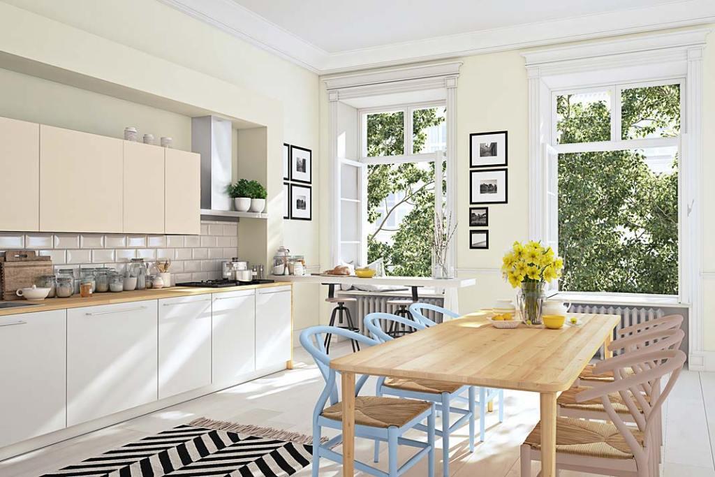 Żółty kolor ścian w kuchni, farby Designer Kitchen&Bathroom Beckers