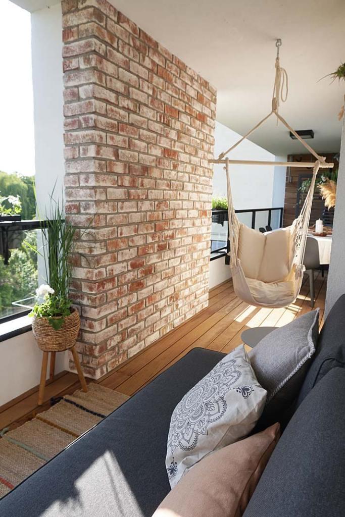 Aranżacja balkonu z wykorzystaniem płytek licowych Geestbrand marki Roben. Realizacja Pracownia Szybkie metamorfozy