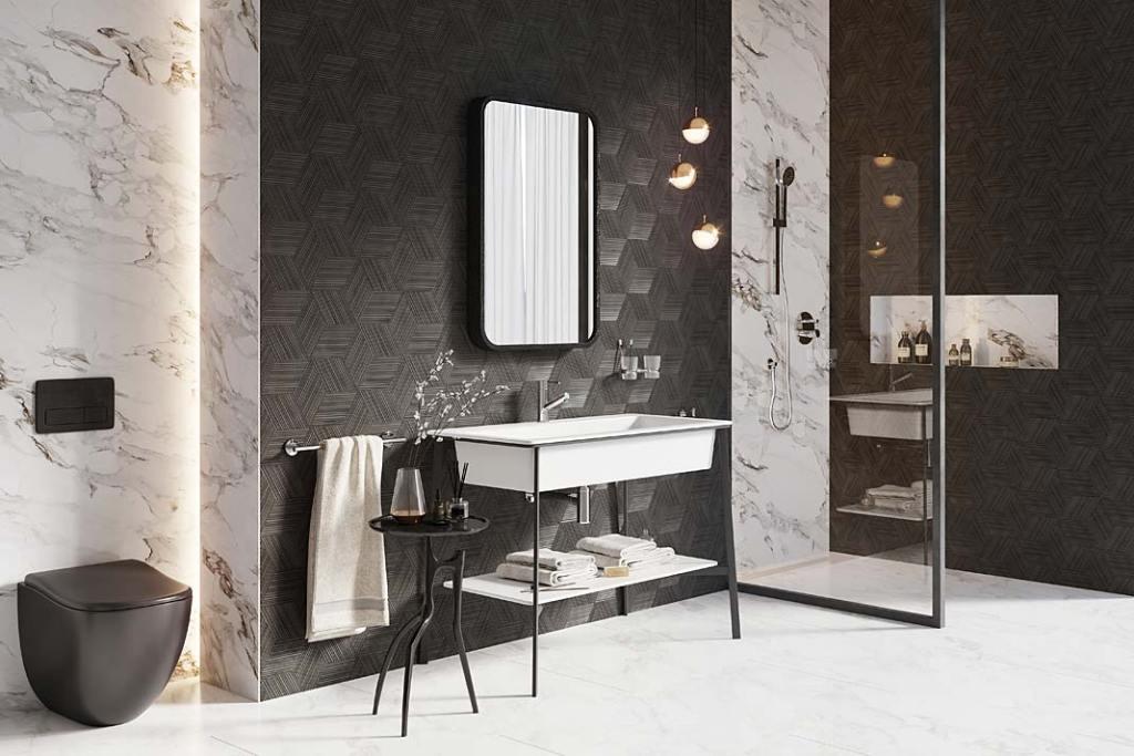 Czarna łazienka, aranżacja marki Ferro