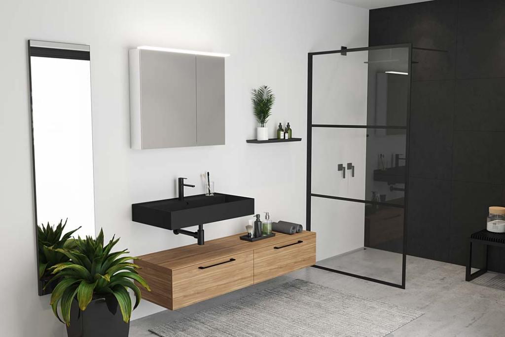 Czarna łazienka, kolekcja Livit Riho