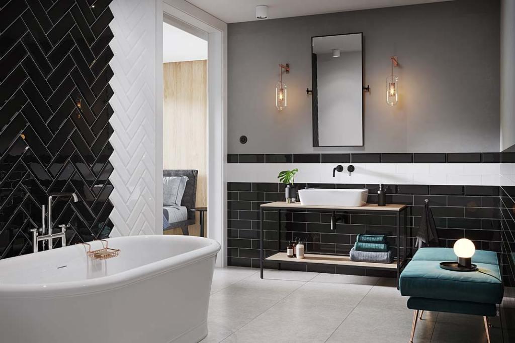 Czarna łazienka, na ścianach płytki Metro Style Opoczno