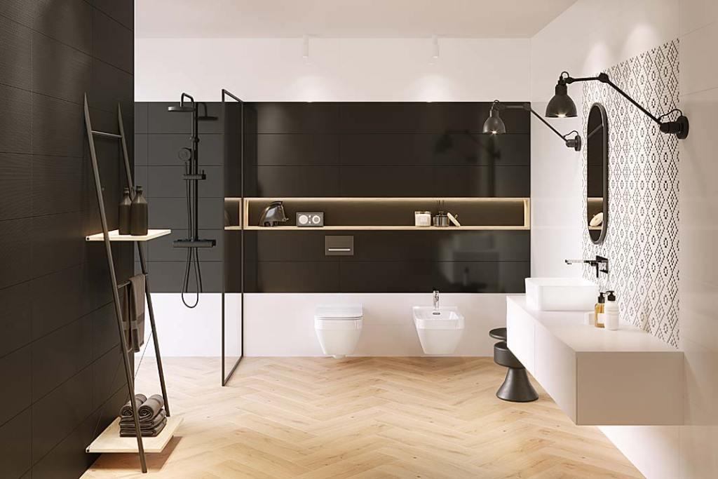 Czarna łazienka, na ścianach płytki ceramiczne Pret-a-porter Cersanit