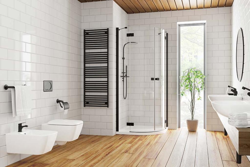 Czerń w łazience, kabina Radaway Essenza New Black
