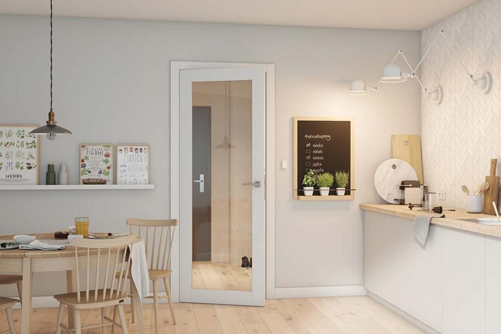 Drzwi pokojowe z kolekcji Nova 3.0 marki CAL ze szklaną szybą