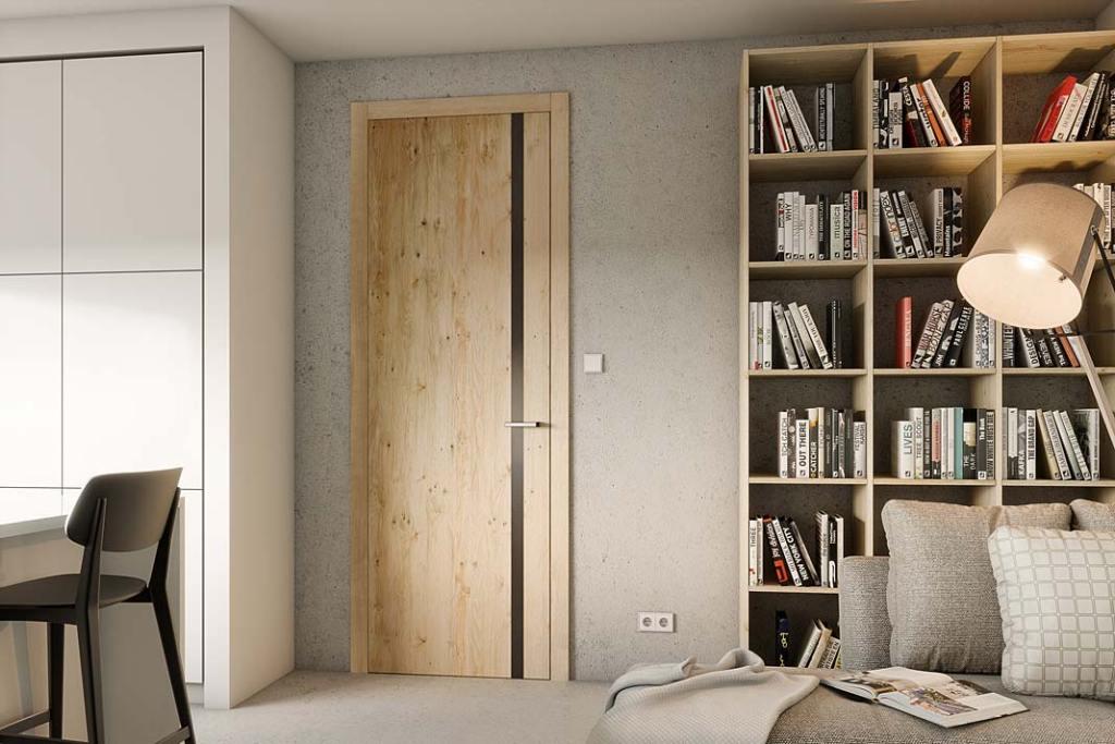 Drzwi wewnętrzne, model Vertical 01 w okleinie sękatej z oferty firmy CAL