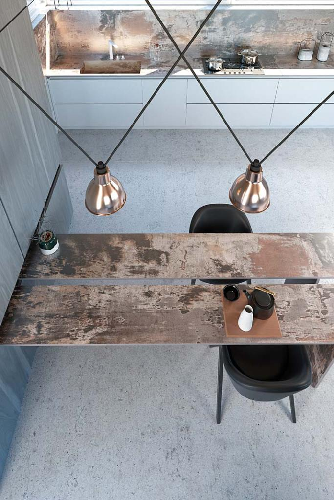 Kuchnia w stylu loft, blaty Cosentino Dekton Industrial z dekorem Trilium