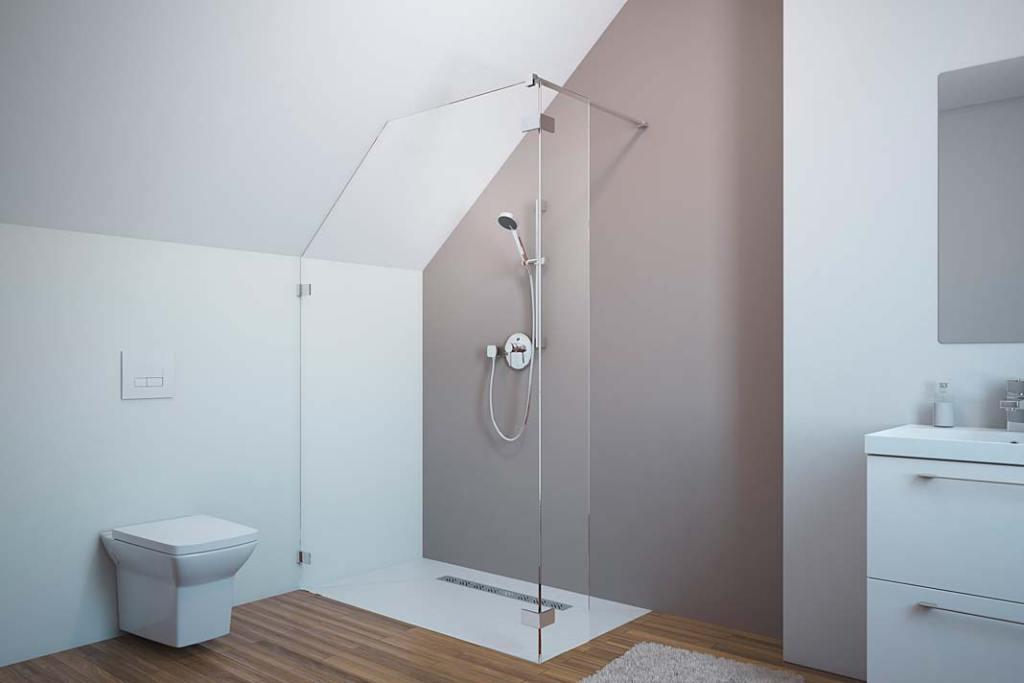 Poddasze użytkowe - aranżacja łazienki z kabiną marki Radaway