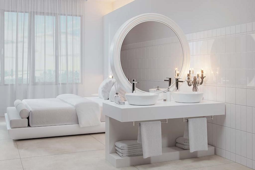 Łazienka przy sypialni, płytki Pro Architectura 3.0 od VILLEROY&BOCH