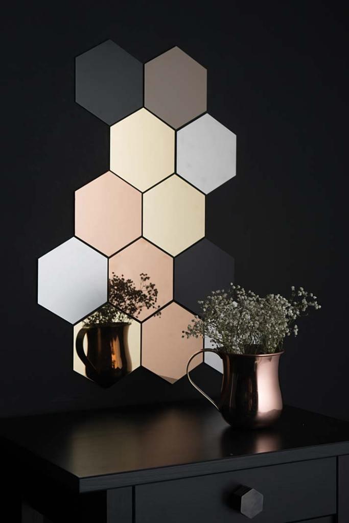 Płytki ceramiczne Hex Tiles marki Dowsing and Reynolds dostępne w5 kolorach i8 rozmiarach