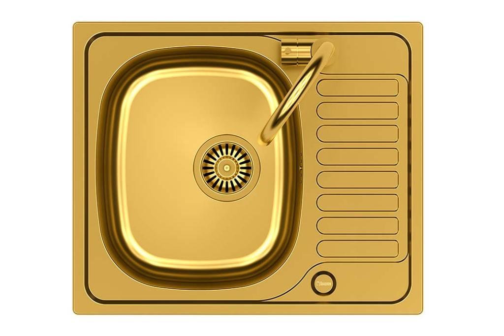 Jak dobrać baterię do zlewozmywaka? Stalowy zlewozmywak Quadron i bateria Calvo w złotym kolorze z oferty Leroy Merlin