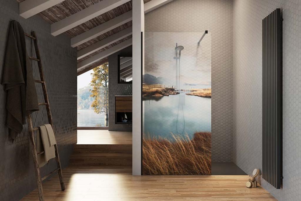 Kabiny prysznicowe z nadrukiem na szkle Print Radaway wzór Lake