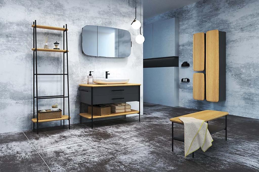 Meble łazienkowe OVAL marki Devo. Projekt Grynasz Studio