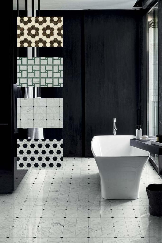 Płytki łazienkowe, podłogowa kolekcja Marmo od Bisazza