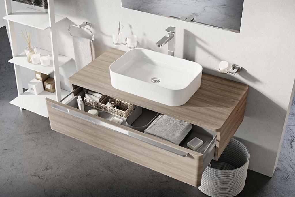Szafka pod umywalkę z blatem i szufladami, model SUD marki Ravak